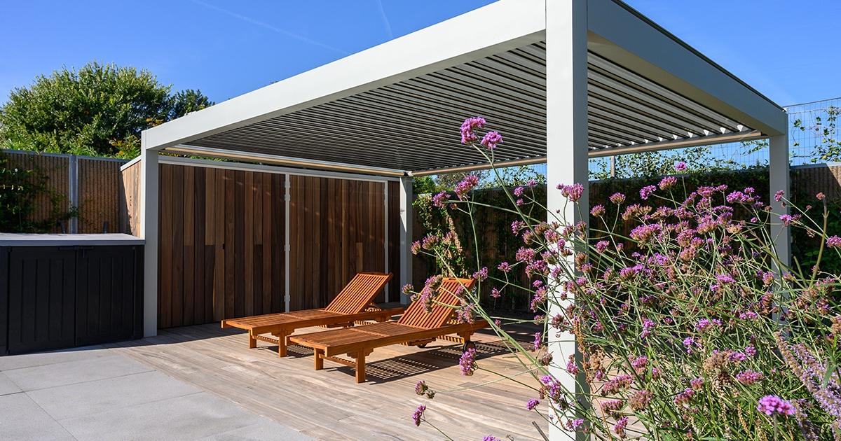 pergola skyroof palmiye terrassenueberdachung privathauhalt 1200x630 - Lamellendach Kollektionen