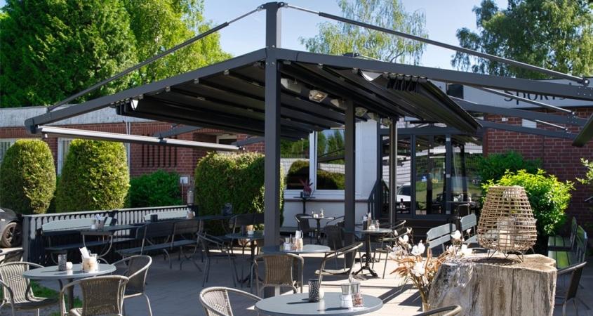 pergola marin palmiye.de terrassenueberdachung gastronomie roxie hamburg GB 845x450 - Terrassenüberdachung - Perfekt für vier Jahreszeiten im Lokal ROXIE