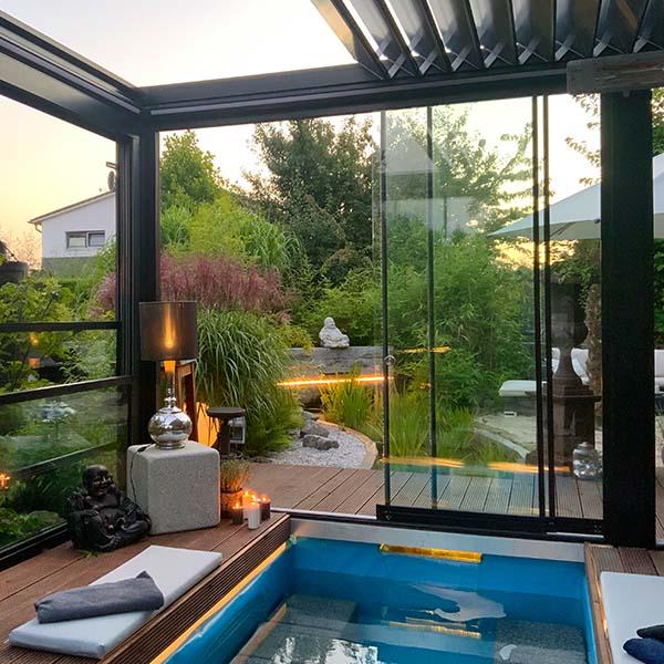 Lamellendach palmiye skyroofprestige poolhaus garten - Lamellendach Kollektionen