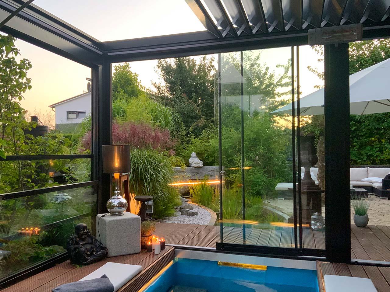 lamellendach palmiye skyroofprestige poolhaus privat 25 - Auffahrbares Lamellendach Skyroof Prestige
