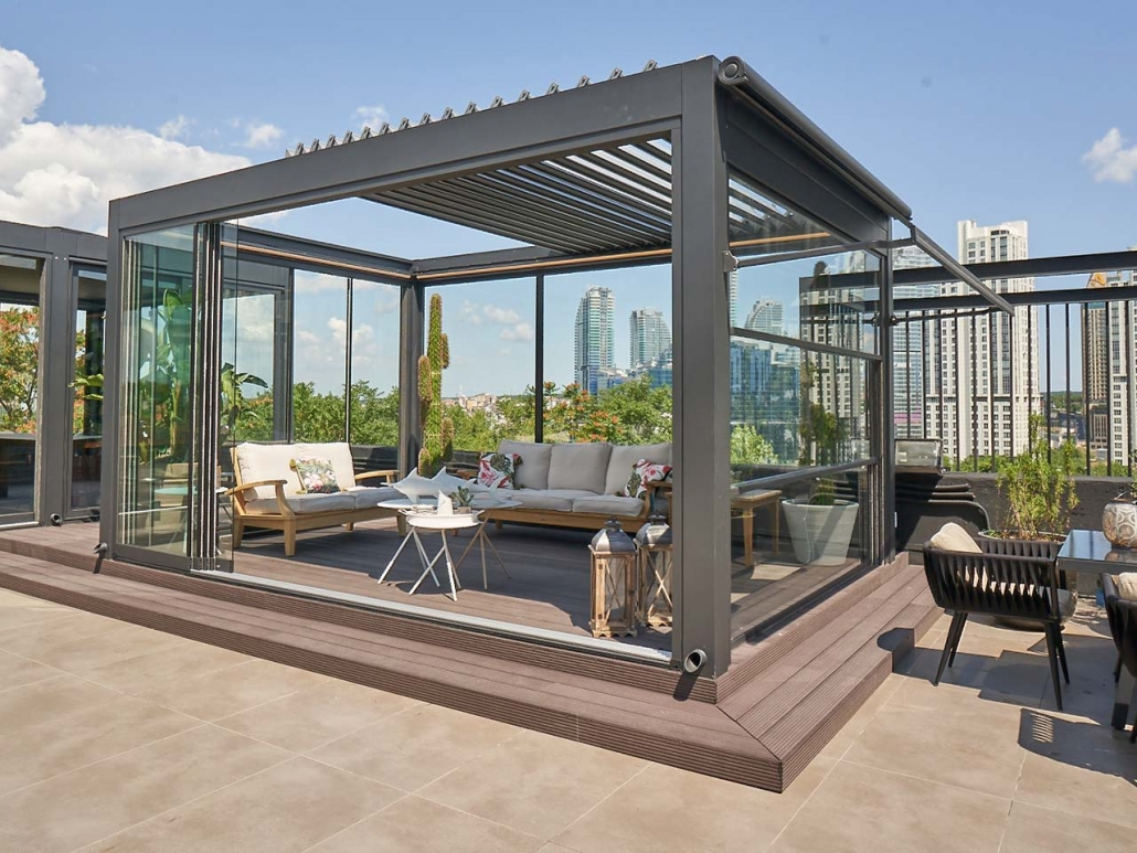 lamellendach skyroofprestige palmiye terrassenueberdachung lounge mudo 8 1030x773 - Auffahrbares Lamellendach Skyroof Prestige