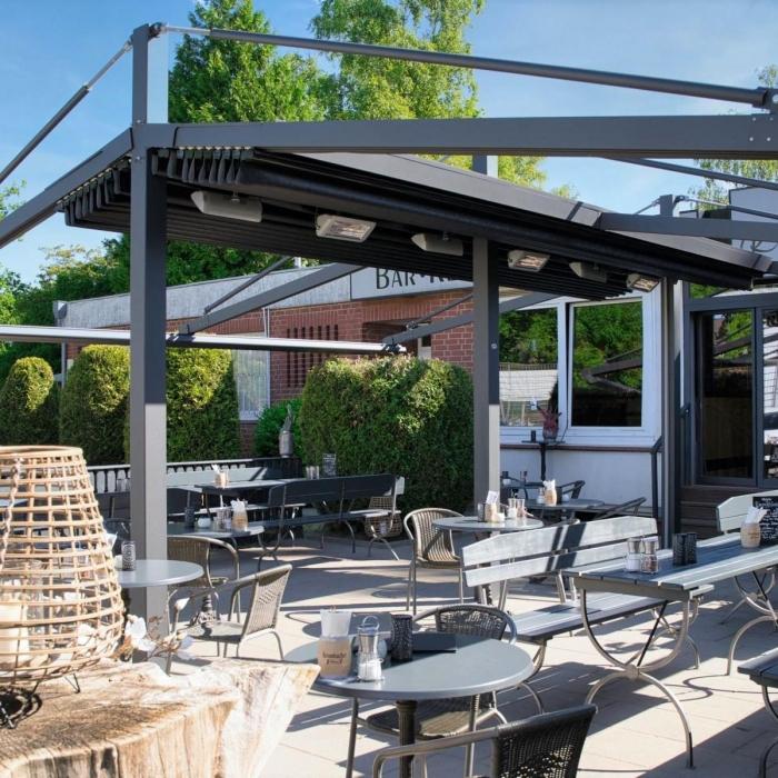 pergola marine palmiye gastronomie ueberdachung roxie 7 1 700x700 - Terrassenüberdachung - Perfekt für vier Jahreszeiten im Lokal ROXIE
